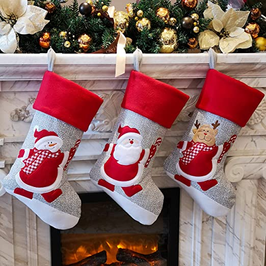 WEWILL Red Traditional Christmas Stockings Set of 3 Santa Reindeer Snowman with Snowflake