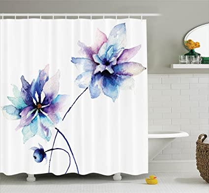 Watercolor Flower Decor Shower Curtain By Ambesonne, Elegant Flower Drawing  With Soft Spring Colors Retro