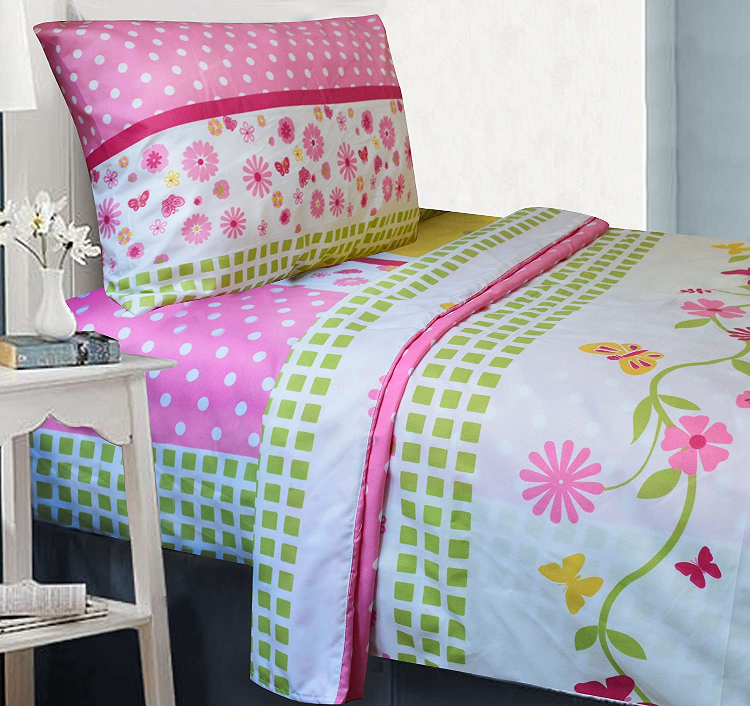 All American Collection 3 Piece Twin Size Pink Monkey Sheet Set, Matching Comforter Set and Curtain Set Available