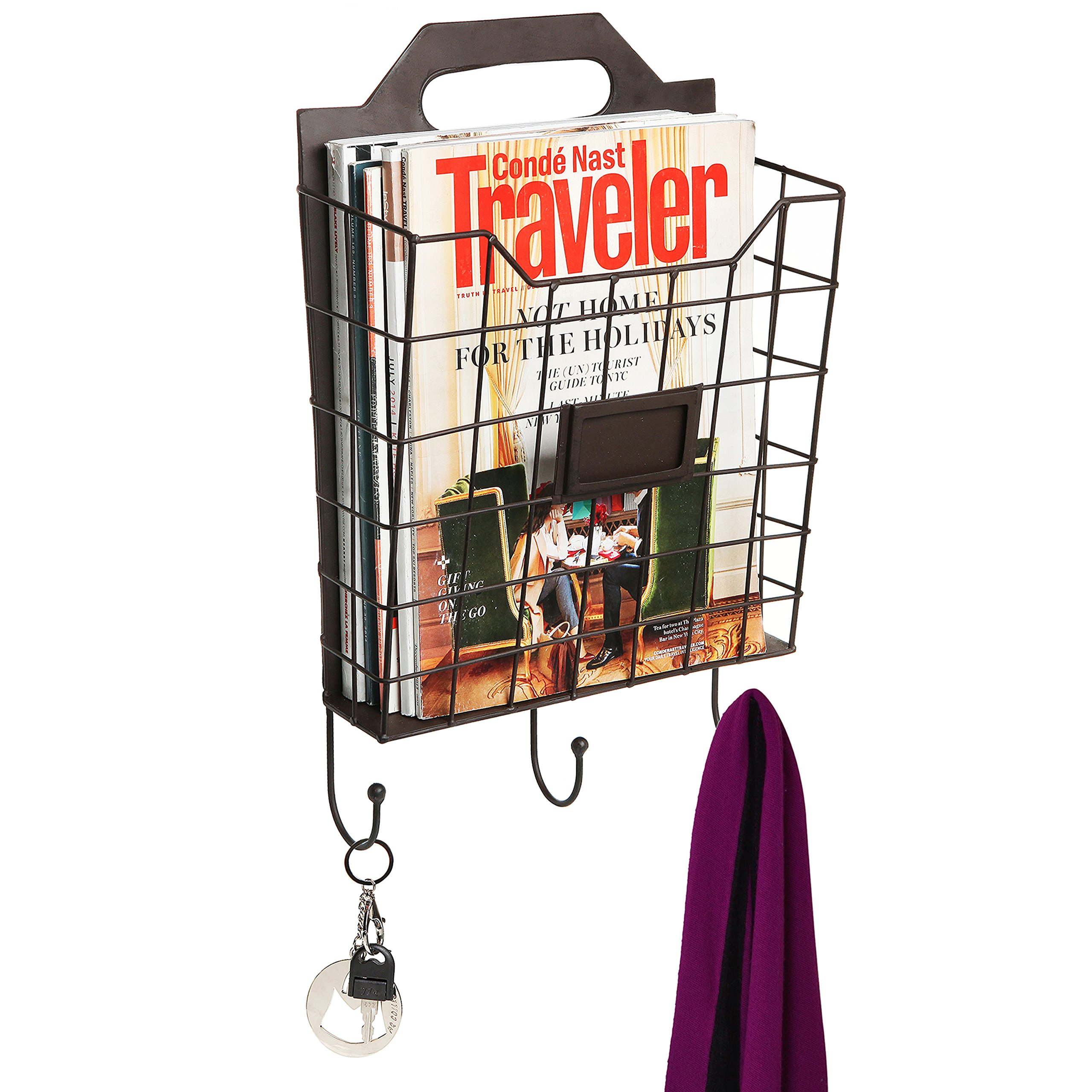 Vintage Wall Mounted Rustic Metal Wire Magazine Storage / Organizer Basket Rack w/ Coat Hooks - MyGift
