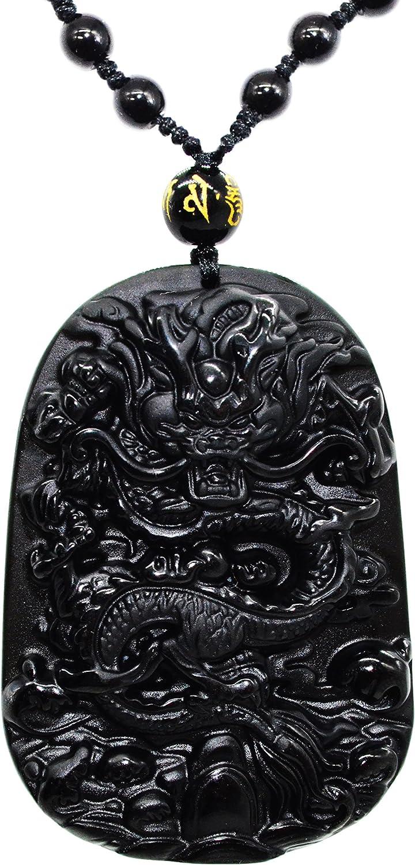 100/% naturel obsidienne sculptés à la main Pièce Bouddha chanceux pendentif Gratuit Perles Collier