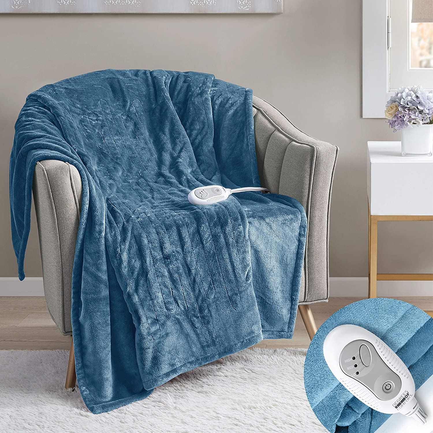 Degrees of Comfort Electric Heated Throw Blanket | Fast Heating, Plush Microlight, UL Certified & Low EMF Radiation – 6ft Cord and 3ft Controller Cable – 3 Heat Settings – Easy to Wash 50x60 Blue