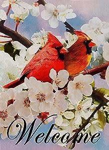 Furiaz Cardinals Welcome Garden Flag Home Decorative Red Bird Dogwood Floral House Yard Outdoor Flag, Fall Farmhouse Outside Decorations Autumn Summer Seasonal Flower Home Decor Burlap Flag 12 x 18