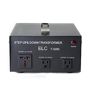 ELC T-5000+ 5000-Watt Voltage Converter Transformer - Step Up/Down - 110V/220V - Circuit Breaker Protection Heavy Duty