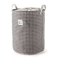 Folding Laundry Basket Hamper with Handles,Mee'life Large Sized Waterproof Coating Ramie Cotton Fabric Drawstring Round Clothes Storage Bins Boxes Dirty Clothes Sorter Organisation Convenient Carrying Khaki Grey Cheque Design