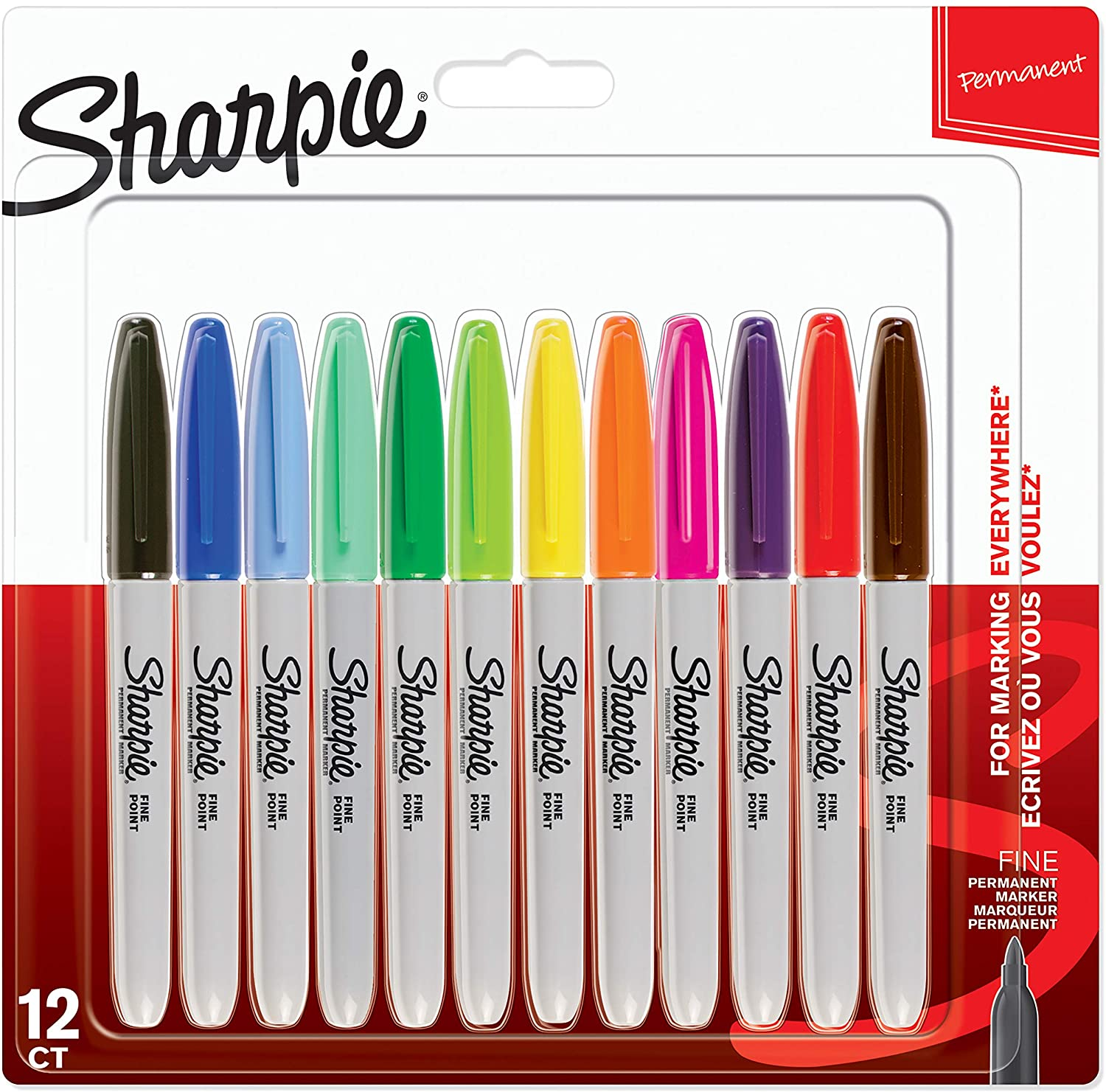 1 BONUS DUAL TIP NEW 12 PACK ASSORTED COLORS SHARPIE FINE PERMANENT MARKERS