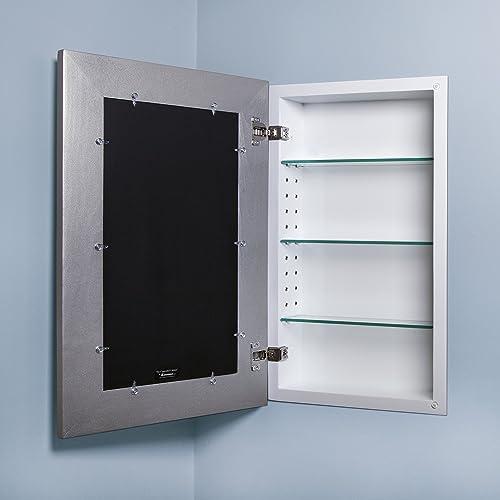 14×24 Recessed Concealed Medicine Cabinet Silver