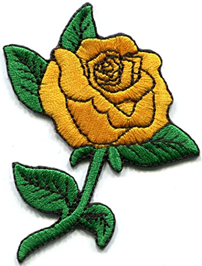 Amazon.com: Golden yellow rose tattoo biker love retro embroidered ...