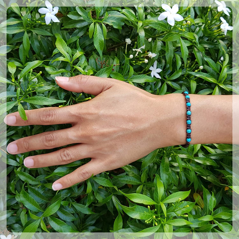 Chakra Tigers Eye Turquoise Stone Origin Siam Handmade Gemstone Beaded Woven Bracelet Stone Healing Onyx Energy Wristband Protection Adjustable Size Unisex for Men and Women