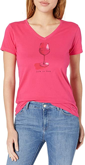 LIFE IS GOOD Womens Womens Crusher V-neck T-shirt Womens Crusher V-neck T-shirt
