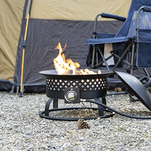 Bond Manufacturing 67836 54,000 BTU Aurora Camping, Backyard, Tailgating, Hunting and Patio. Locking Lid & Carry Handle Portable Steel Propane Gas Fire