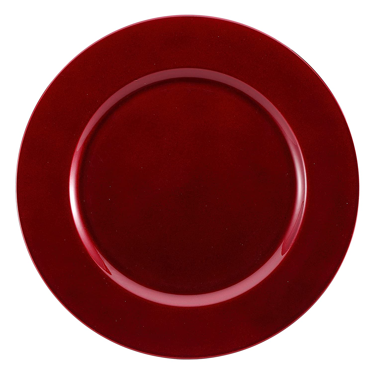 Brunchfill Charger Plates Decorative Underplates  Round  Square  Gold   Silver  Red  Black (plain Red  Round Charger Plate  33 Cm, 8):  Amazon: