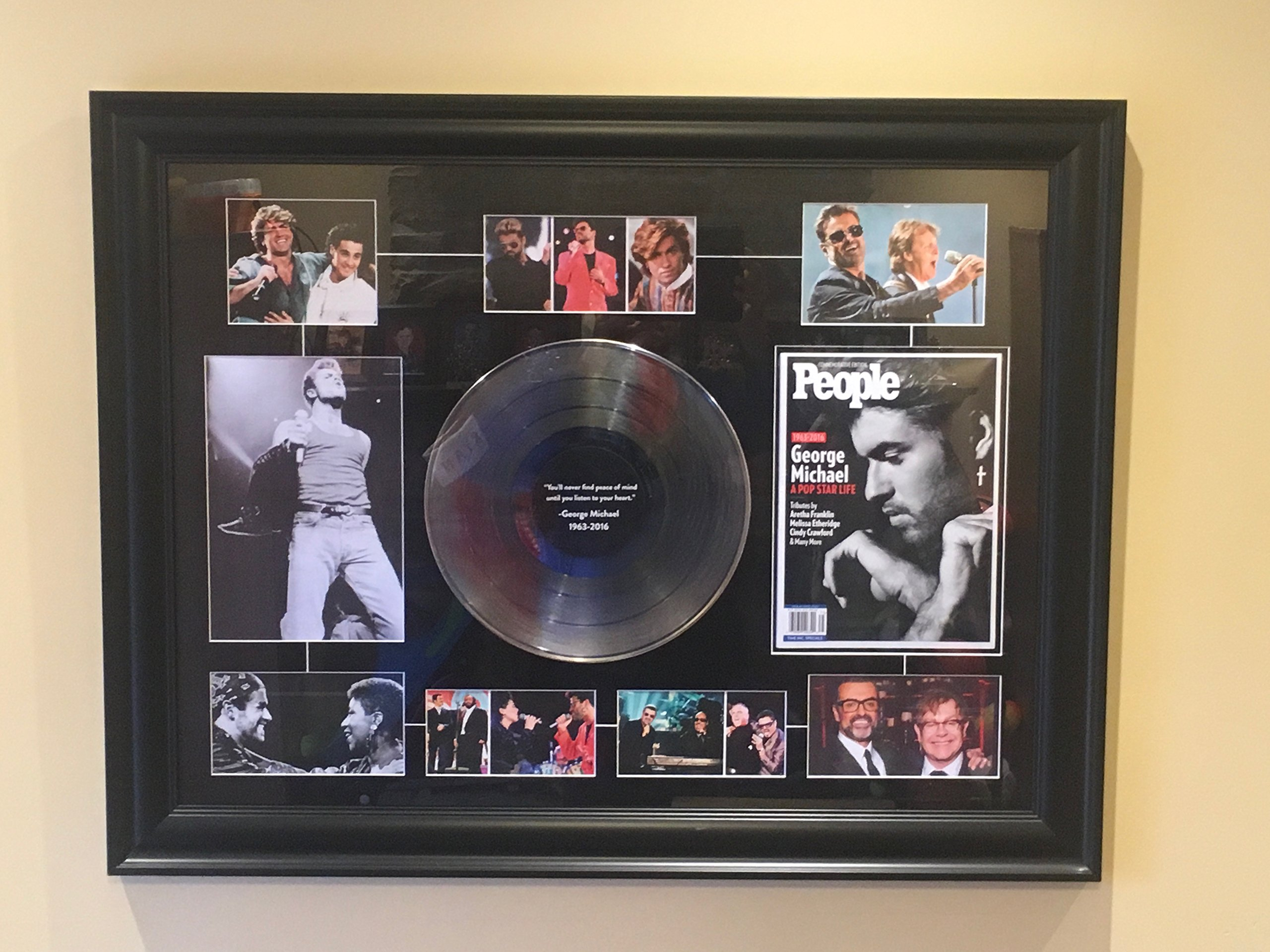 George Michael Framed People Magazine Collage. 36'' Wide X 28'' High. Beautiful Artwork for any Wall.