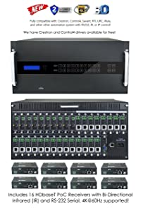 16x16 HDbaseT HDMI 4K 60hz Modular Matrix SWITCHER with16 Receivers (CAT5e or CAT6) HDMI HDCP2.2 HDTV Routing SPDIF Audio CONTROL4 Savant Home Automation HOT SWAPPABLE VGA Microphone Card
