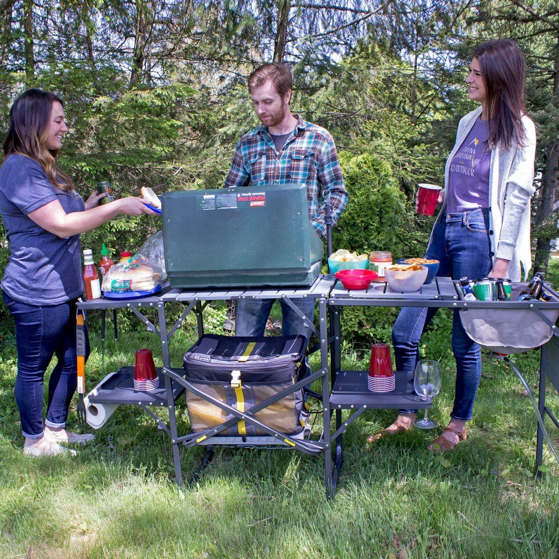 GCI Outdoor SF Campingtisch Reisetisch Klapptisch Multifunktionstisch Campingk/üche Campingregal Faltbar Tragbar Mit Vier Klappbaren Seitentischen Und Gitterregal
