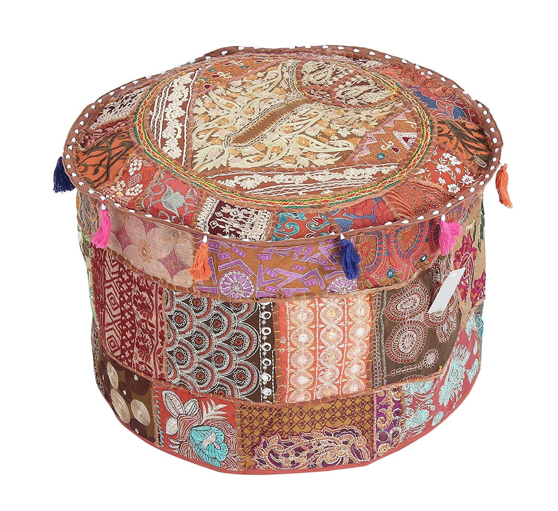 GANESHAM Indian Room Decor Hippie Vintage Cotton Floor Pillow & Cushion Patchwork Bean Bag Chair Cover Boho Bohemian Hand Embroidered Ethnic Handmade Pouf Ottoman 13x18 inch