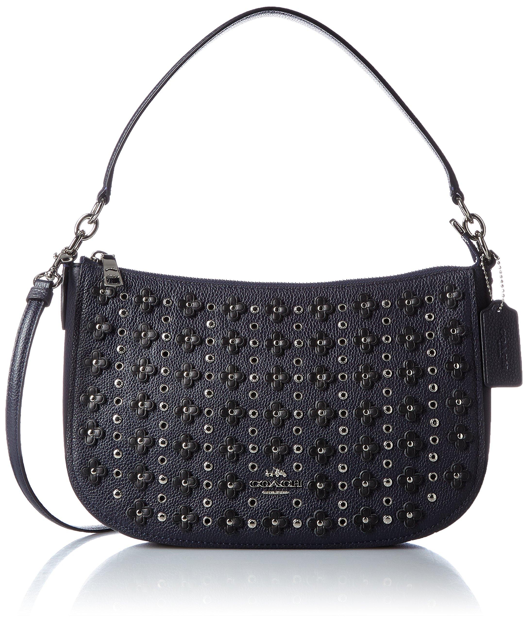 COACH Women's Floral Rivets Chelsea Crossbody Sv/Navy/Black Crossbody Bag