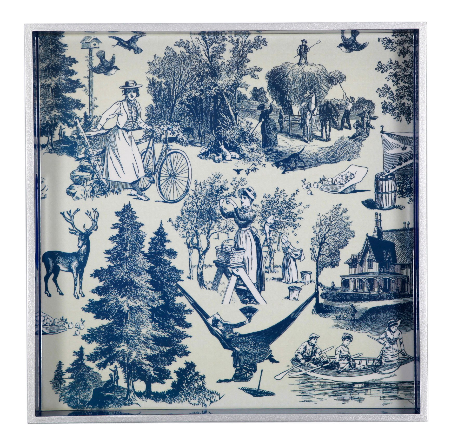Country Harvest Square Wooden Tray Color: Indigo by TSC Giftables (Image #1)