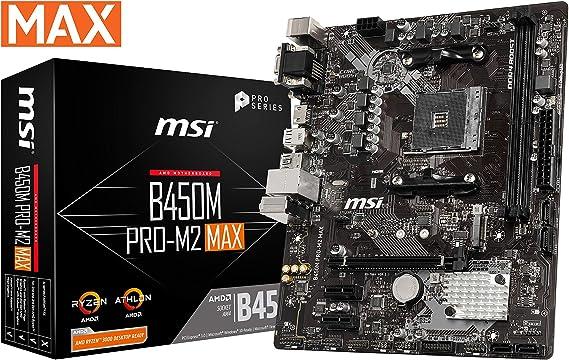 MSI ProSeries AMD Ryzen 1st and 2ND Gen AM4 M.2 USB 3 DDR4 D-Sub DVI HDMI Micro-ATX Motherboard (B450M PRO-M2 Max) (B450MPM2MAX)
