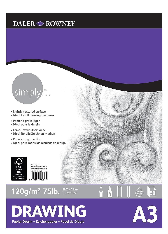 de Formato 29,7 x 42 cm Bloc Encolado ideal para Calco DALER ROWNEY Simply de 60 g//m2 Transl/úcido con 40 Hojas de Papel Vegetal