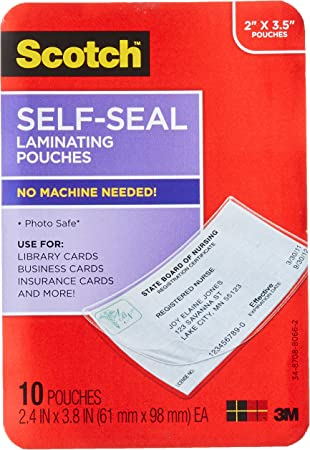 """2.25"""" X 3.5"""" Scotch Self Seal Laminating Pouches 25 Pouches With Clips"""