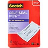 Scotch Self-Sealing Laminating Pouches, Business Card Size, 10 Pouches (LS851-10G)