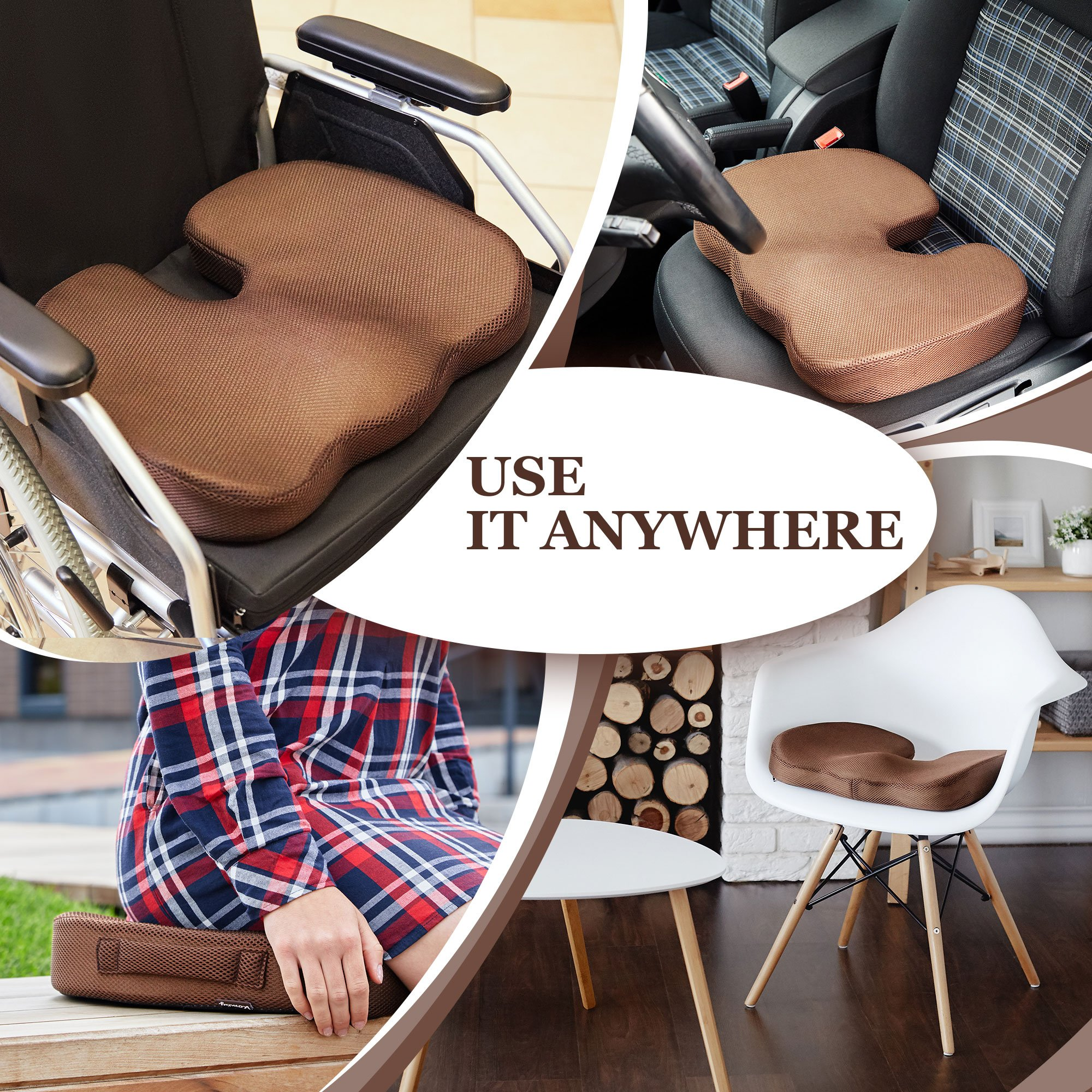 Womby Orthopedic Memory Foam Seat Cushion (U-Type) by Orthopedic Coccyx Pillow for Office Chair, Car, Plane – Best Design to Relieve Back, Sciatica and Tailbone Pain – Non-Slip, Washable Cover by Womby (Image #7)