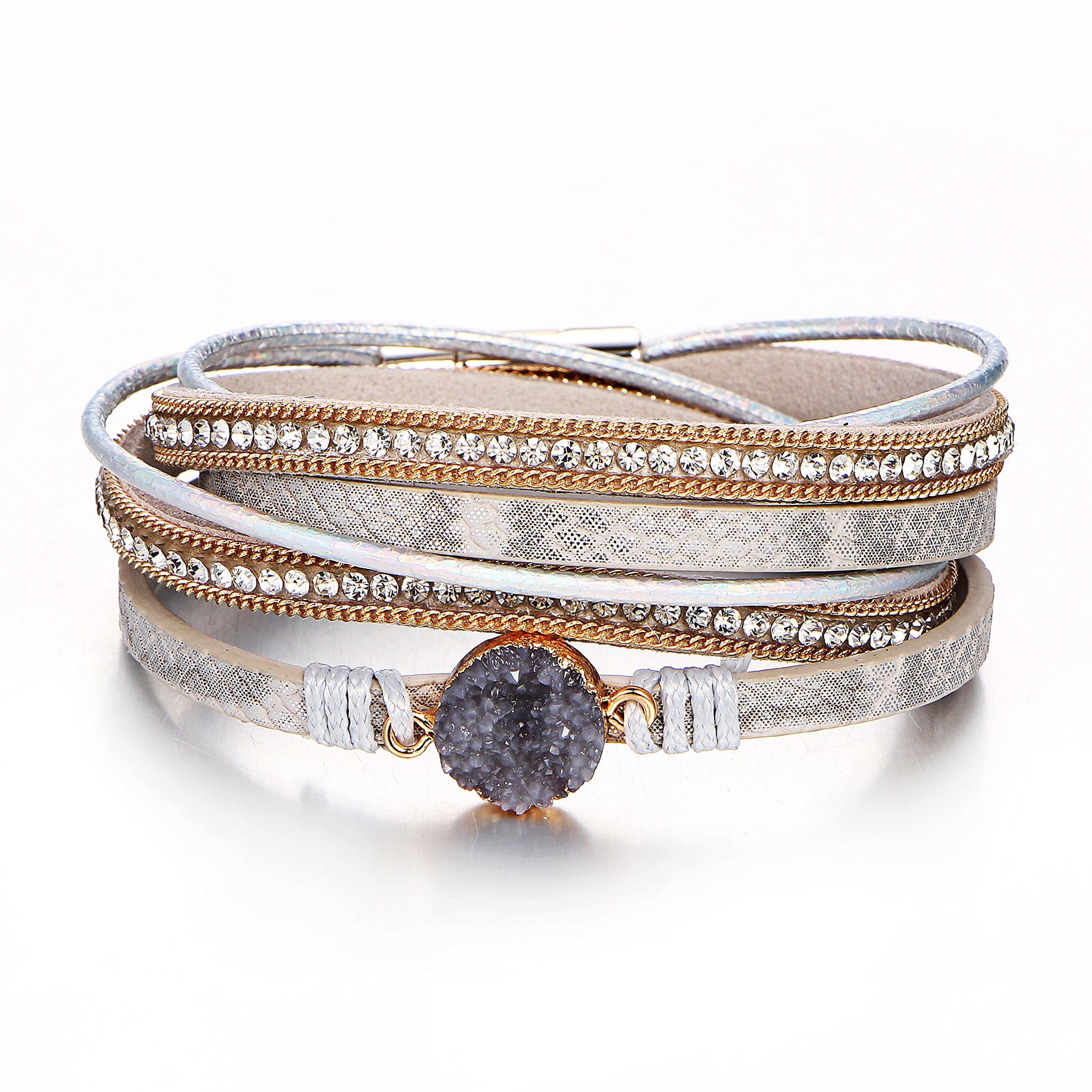 17mile Grey Women Multilayered Wrap Genuine Leather Vintage Natural Stone Wrap Cuff Boho beaded Bracelet Pendant Magnet Buckle