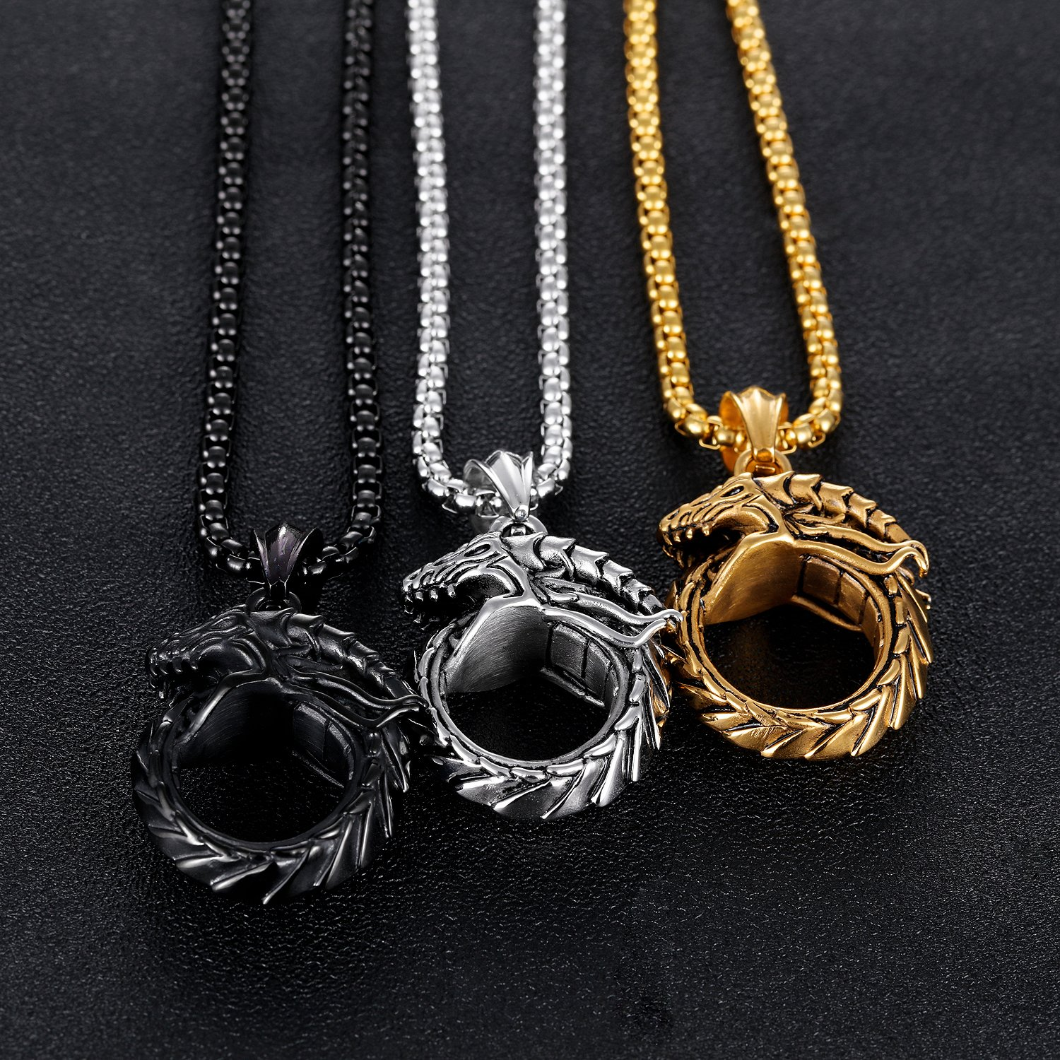 ccd9360cd2250 TEMICO Men's Vintage Stainless Steel Gothic Ouroboros Dragon Circle Pendant  Necklace, Chain 23.6 inches