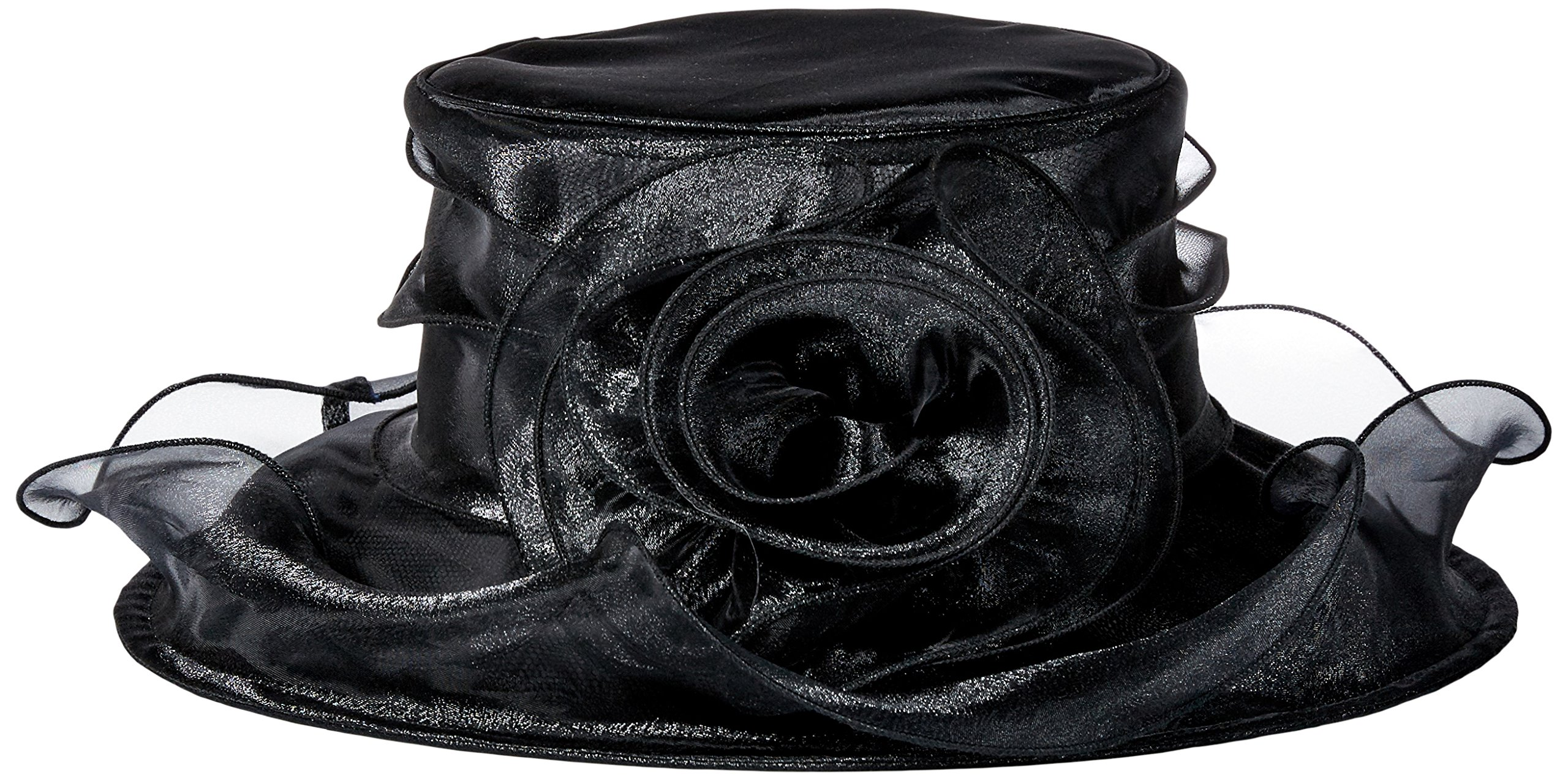 San Diego Hat Company Women's Organza Hat with Wired Brim and Rosette Trim, Black, One Size