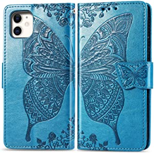 Compatible with iPhone 11 Pro Max flip Case,Butterfly Heavy Duty Flip Leather Cover Card Slot Closure Magnetic Phone Case with Lanyard, Designed for Apple iPhone 11 Pro Max Case - Blue