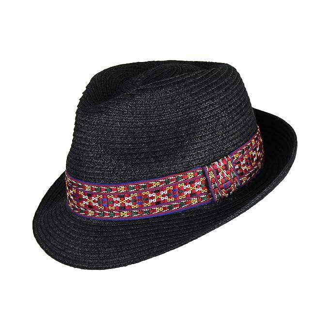 Ellie s Tribe Boho Geometric Design Straw Fedora Cap- Woven Pattern Summer  Short Brim Trilby Panama Hat 985bcec653c0