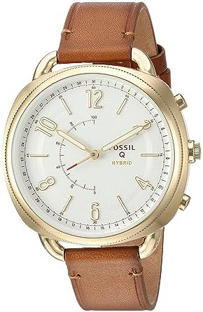 Montre Smartwatch Fossil Q Hybrid en cuir fin pour femme - FTW1201