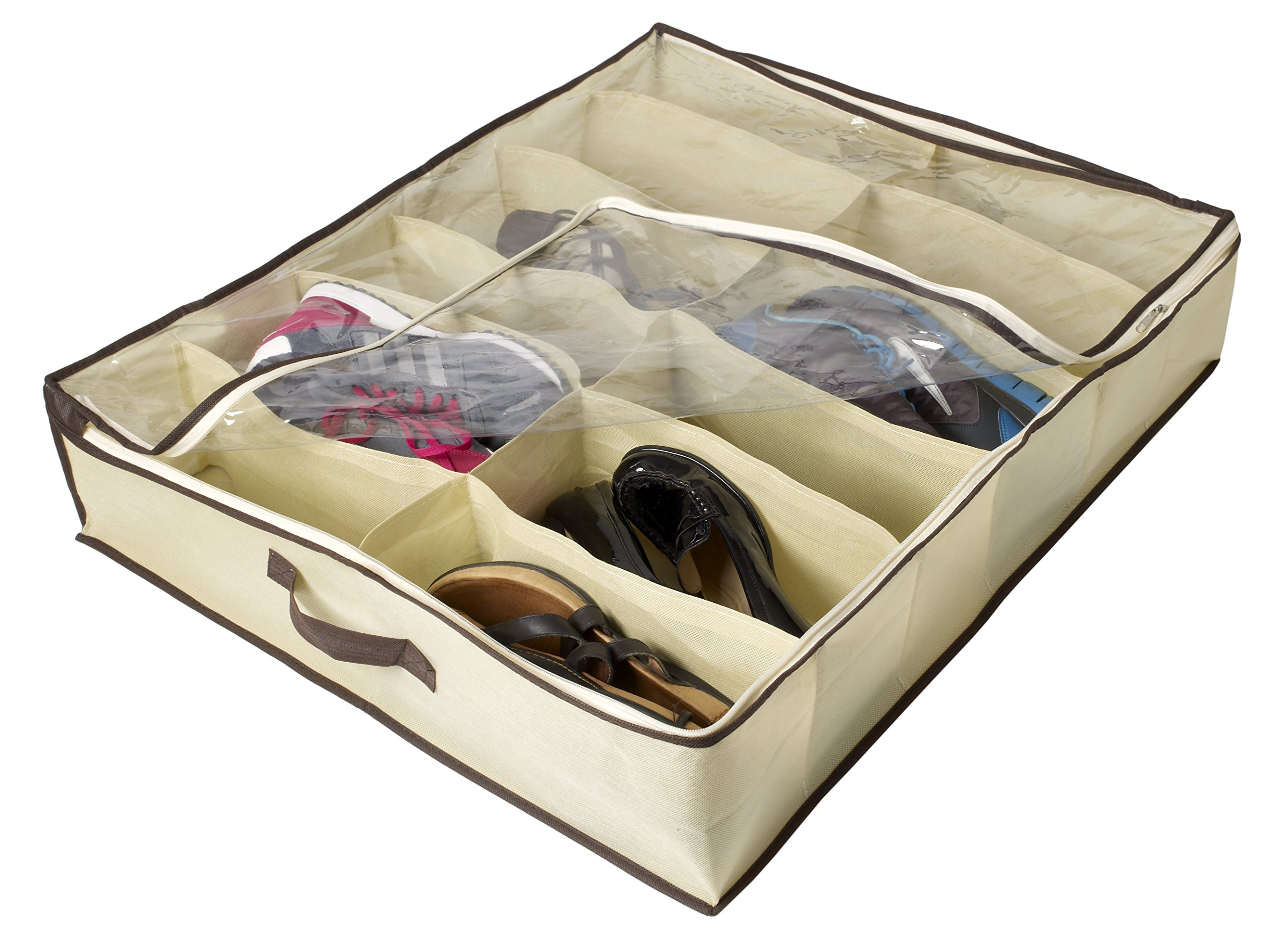 Ziz Home Under Bed Shoe Organizer for Kids and Adults (12 Pairs) - Underbed Shoes Closet Storage Solution - Made of Breathable Materials with Front Zippered Closure - Easy to Assemble by Ziz Home (Image #3)