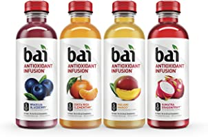 Bai Flavored Water, Rainforest Variety Pack, Antioxidant Infused Drinks, 18 Fluid Ounce Bottles, 12 count, 3 each of...