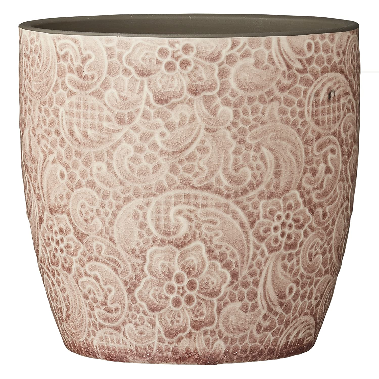 Lene Bjerre Moroccan Blush Round Mosaic Rana Flower Pot Decorative Crackle Glazed Scroll And Floral Pattern 13cm Tall
