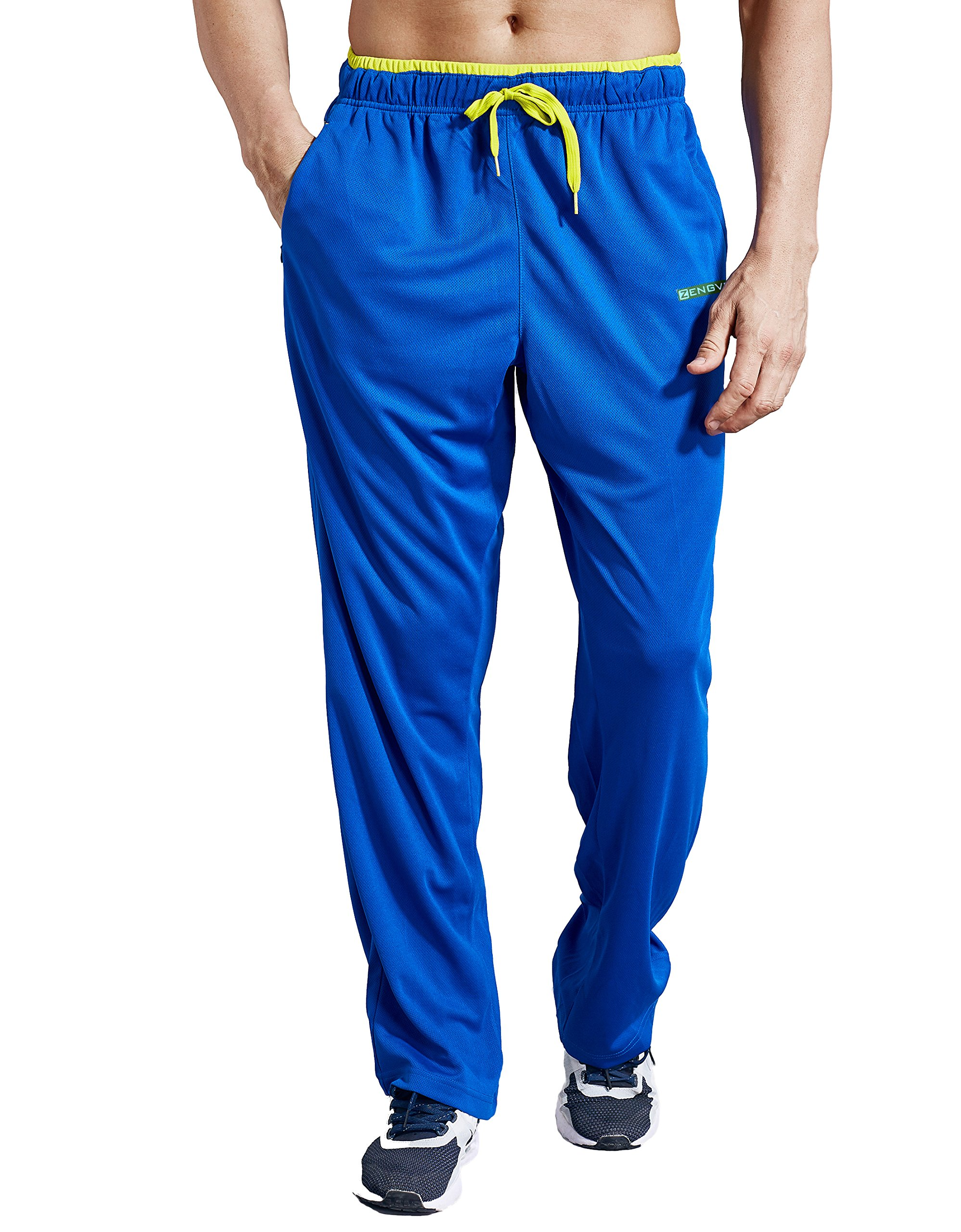 ZENGVEE Athletic Men's Open Bottom Light Weight Jersey Sweatpant with Zipper Pockets for Workout, Gym, Running, Training (Blue01,S)