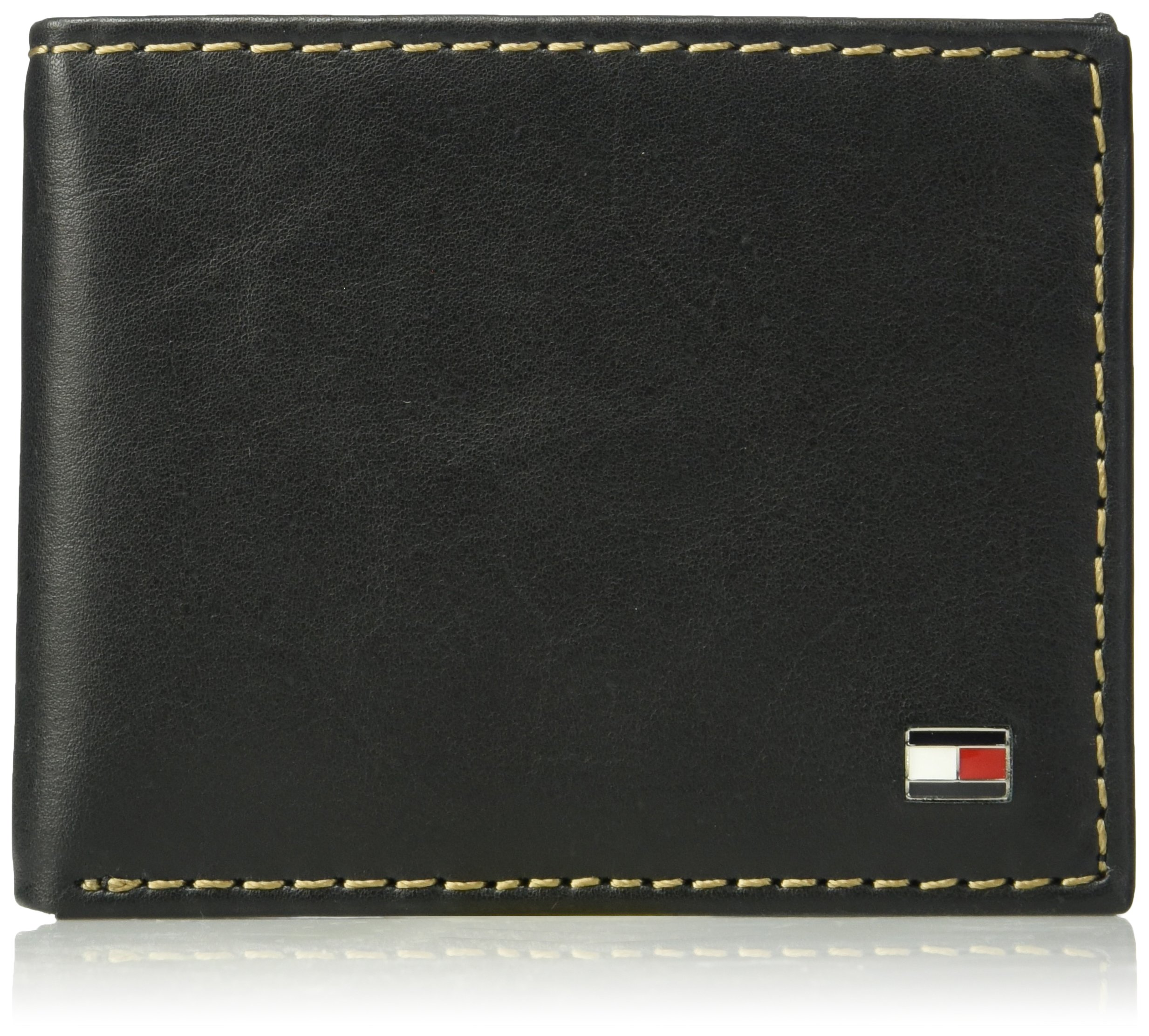 Tommy Hilfiger Men's Leather Wallet - RFID Blocking Slim Thin Bifold with Removable Card Holder and Gift Box, Logan - Black by Tommy Hilfiger