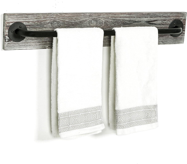 MyGift Wall Mounted Torched Wood & Black Metal Industrial Pipe Bathroom Towel Bar Rack