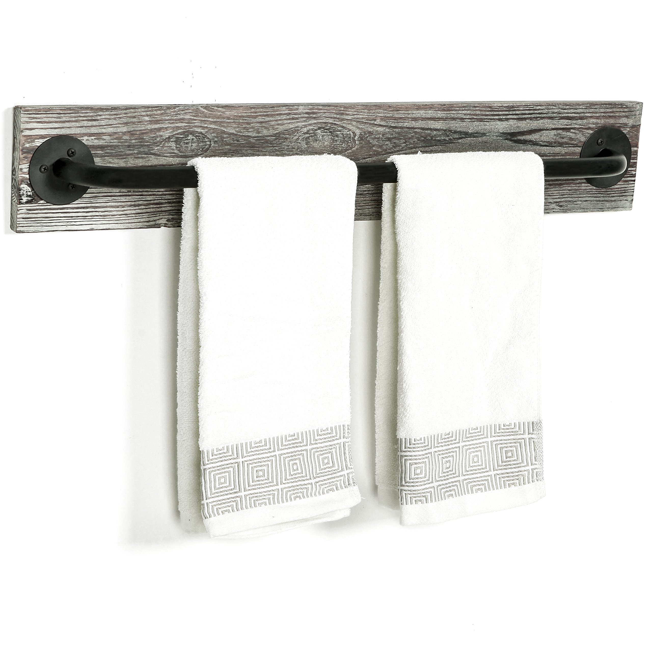 MyGift Torched Wood & Black Metal Wall Mounted Bathroom Towel Bar Rack by MyGift