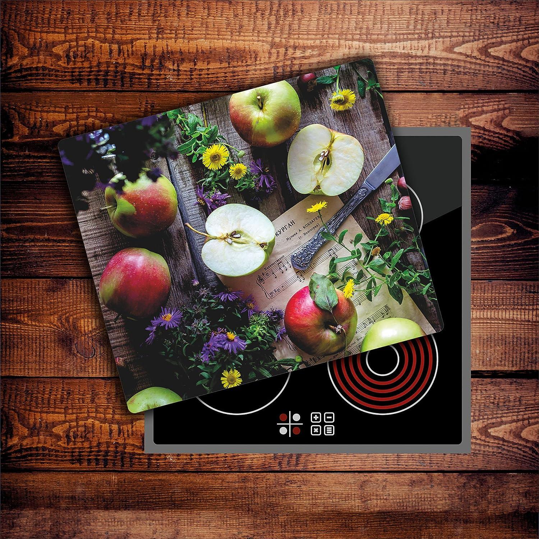 CTC-Trade Herdabdeckplatten 60x52 cm Ceranfeld Abdeckung Glas Spritzschutz Abdeckplatte Glasplatte Herd Ceranfeldabdeckung K/üche Obst