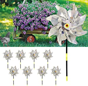 Hand-Mart 8PCS Reflective Bird Blinder Deterrent Pinwheels with Stakes, Sparkly Pin Wheel for Garden Decor, Bird Scare Devices to Keep Birds Away from Yard Patio Garden Farm, Need-Assemble