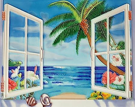 Window View Ocean – Decorative Ceramic Art Tile – 11 x14 En Vogue