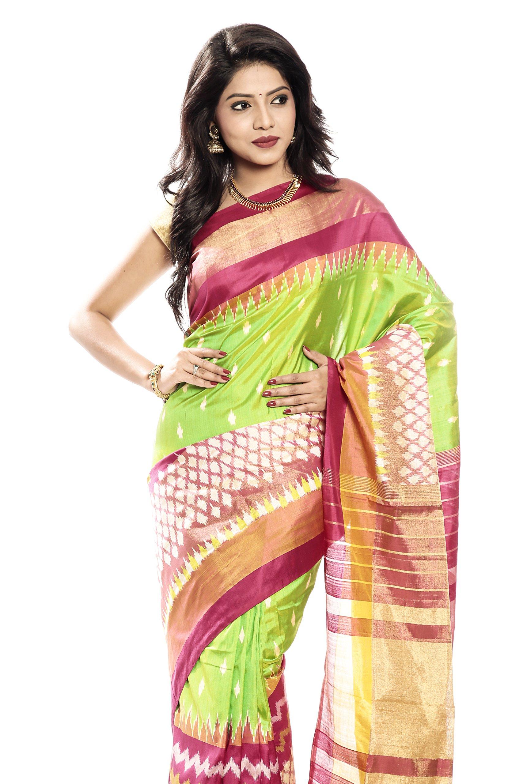 Mandakini — Indian Women's Pochampally - Handloom - Ikat Pure Silk Saree (Pink-Green ) (MK303) by Mandakini (Image #2)