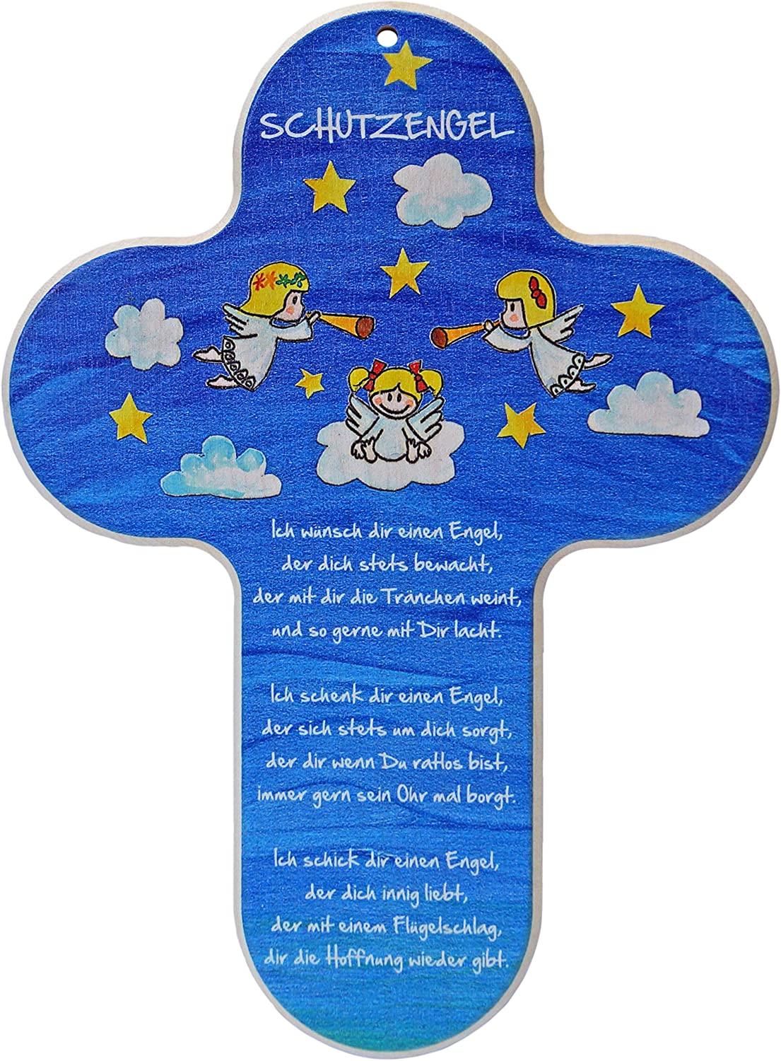 Height 20 CM Kaltner Pr/äsente Childrens Cross for your Childs Bedroom with Guardian Angel//Natural Beech Wood//Colour Printed with Wording in German Language