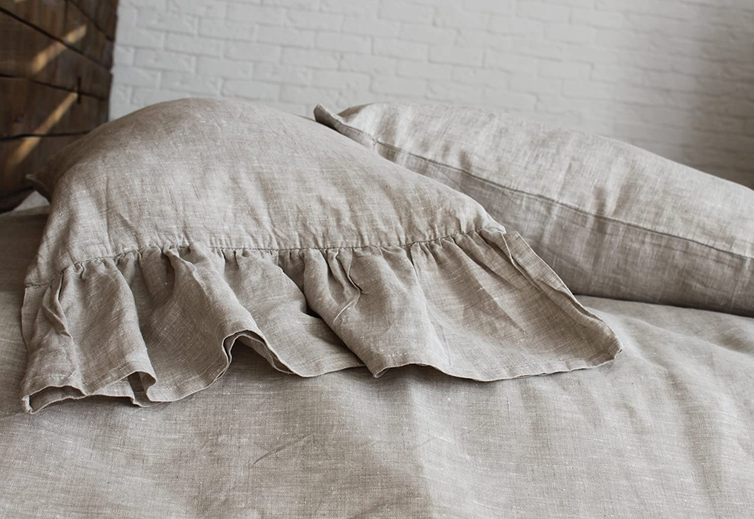 Pure Linen Pillow Sham With Mermaid Long Ruffles - Standard, Queen, King, Euro Sizes - Natural, White or Grey Colors