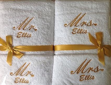 Personalizado toalla de mano y juego de franela bordado en hilo de oro regalo de boda