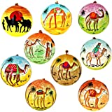 Set of 9 Camel Dessert Paper Mache Christmas Ornaments Ball Handmade in Kashmir, India, 3 Inches