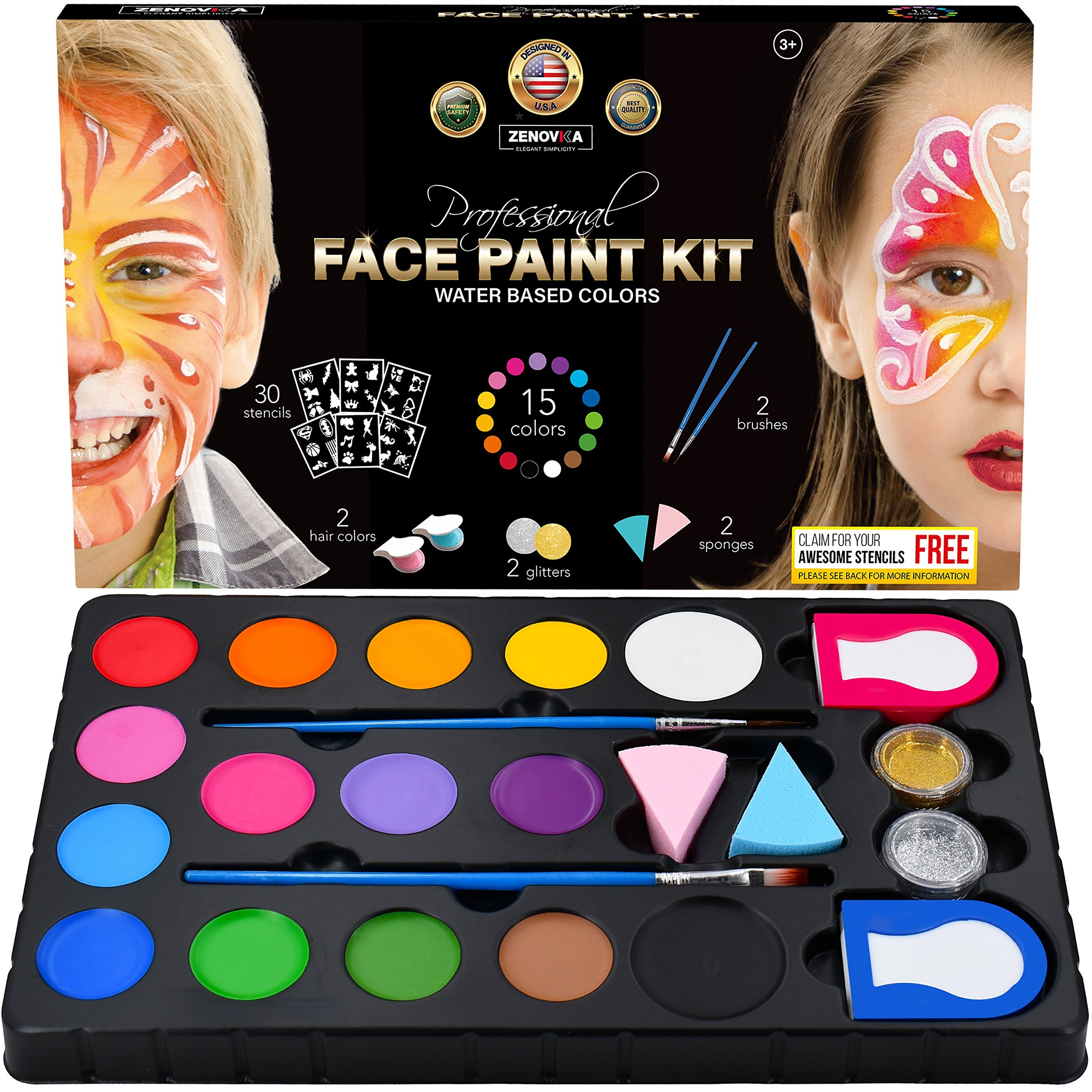 Professional Face Paint Kit for Kids - 15 Vibrant Body Paint Water Based Colors, 2 Glitters, 30 Stencils, 2 Haircolor, 2 Brushes, 2 Sponges - Great Face Paints with 15 Fun Face Painting Ideas Book