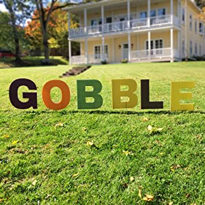 VictoryStore Yard Sign Outdoor Lawn Decorations: Gobble Thanksgiving Yard Letters with Short Stakes